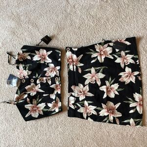 Forever 21 Floral 2 Piece Skirt Set Size M/L New